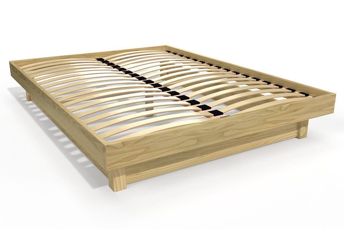 Abc meubles - lit plateforme bois massif pas cher miel 140x200