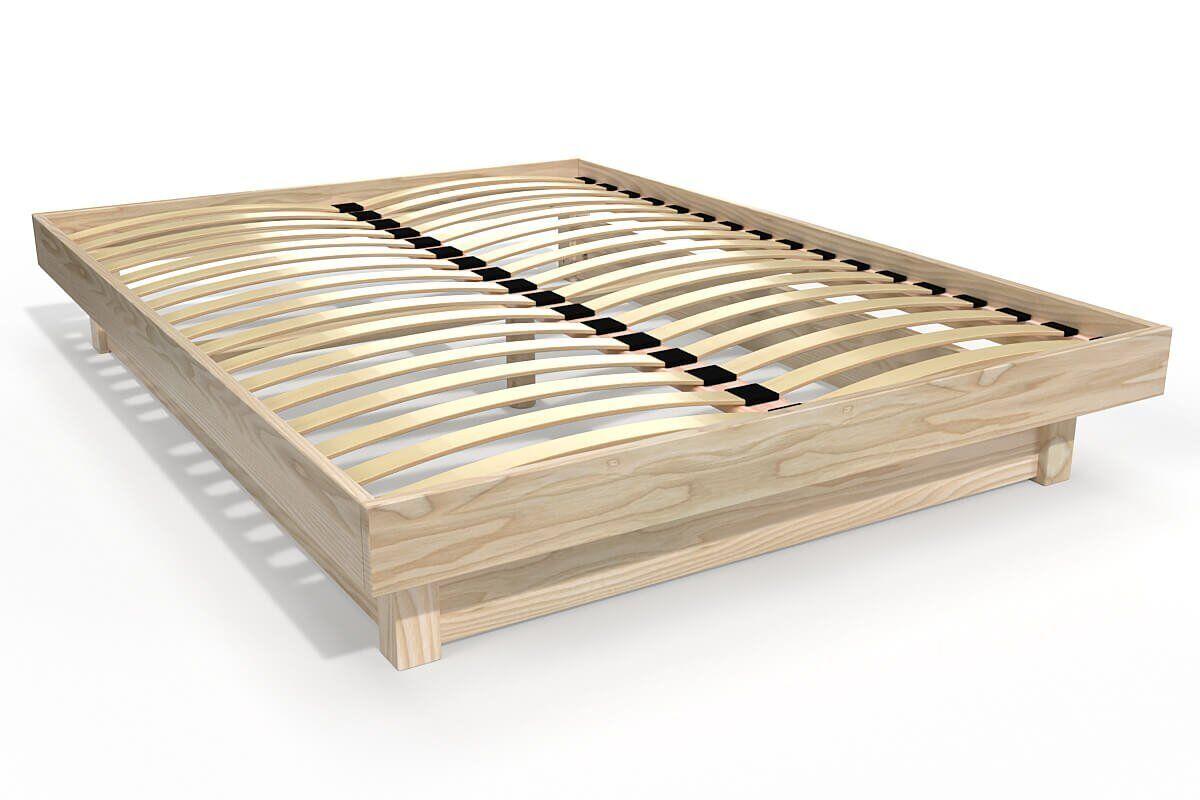 Abc meubles - lit plateforme bois massif pas cher vernis naturel 140x190