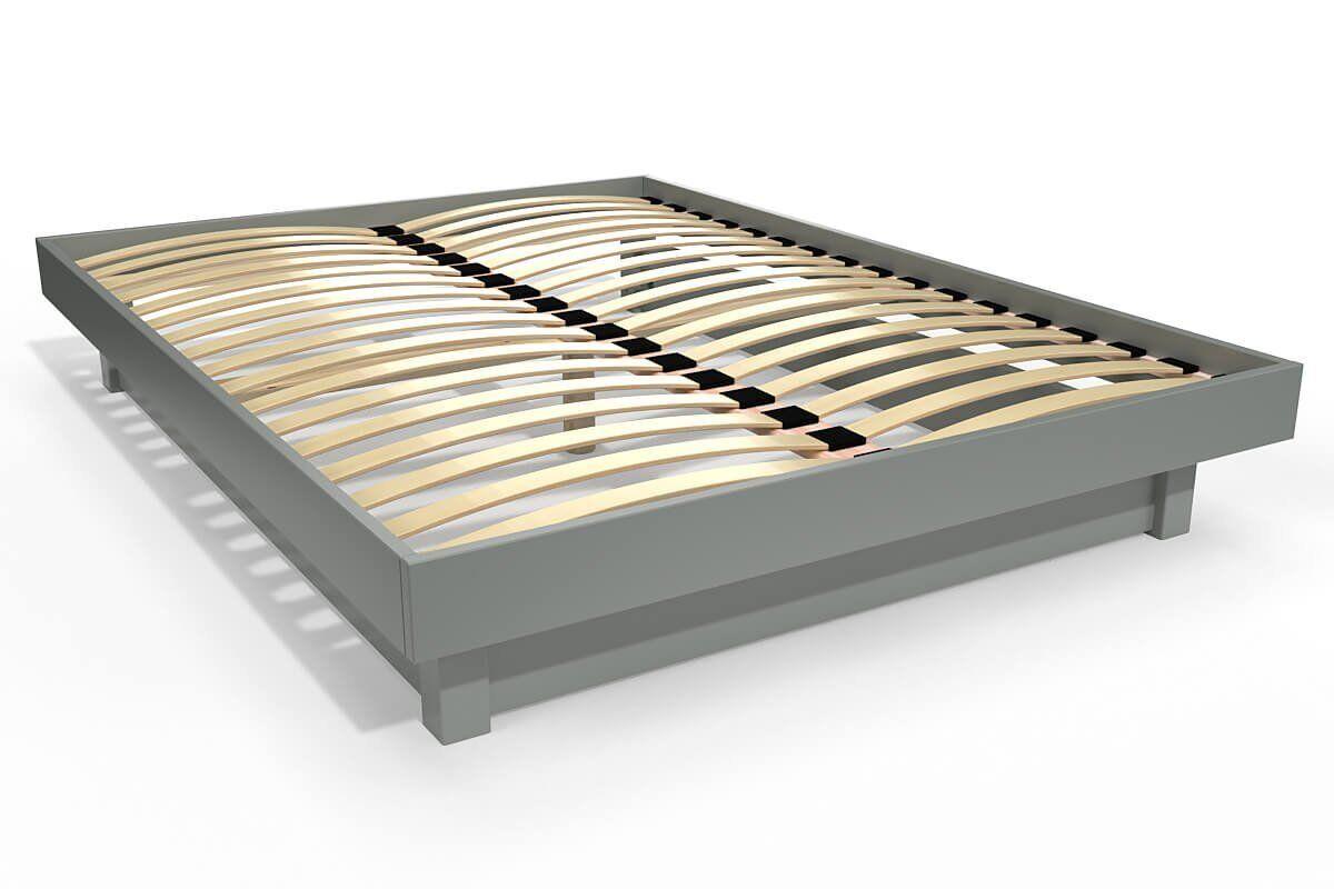 Abc meubles - lit plateforme bois massif pas cher gris 140x190