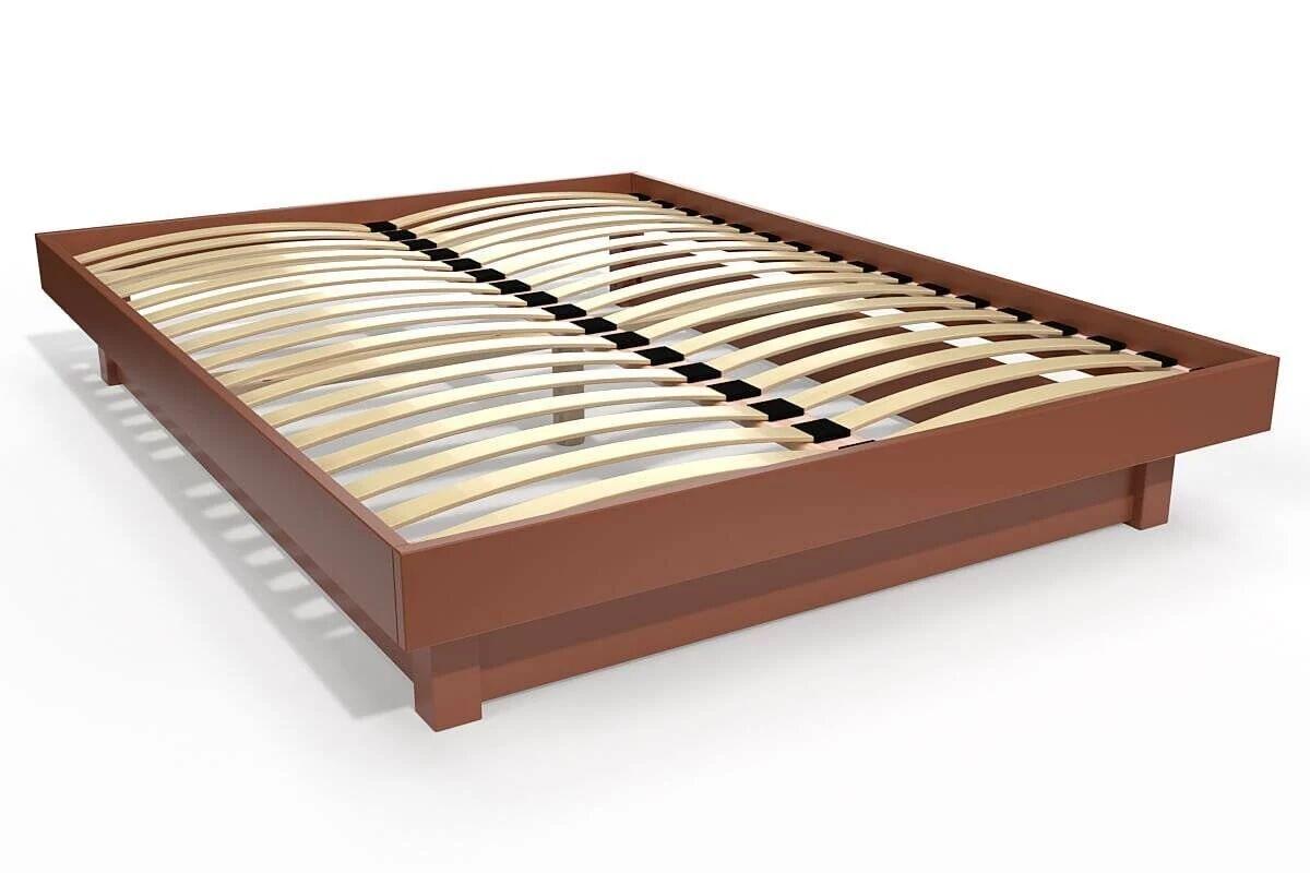 Abc meubles - lit plateforme bois massif pas cher chocolat 140x200