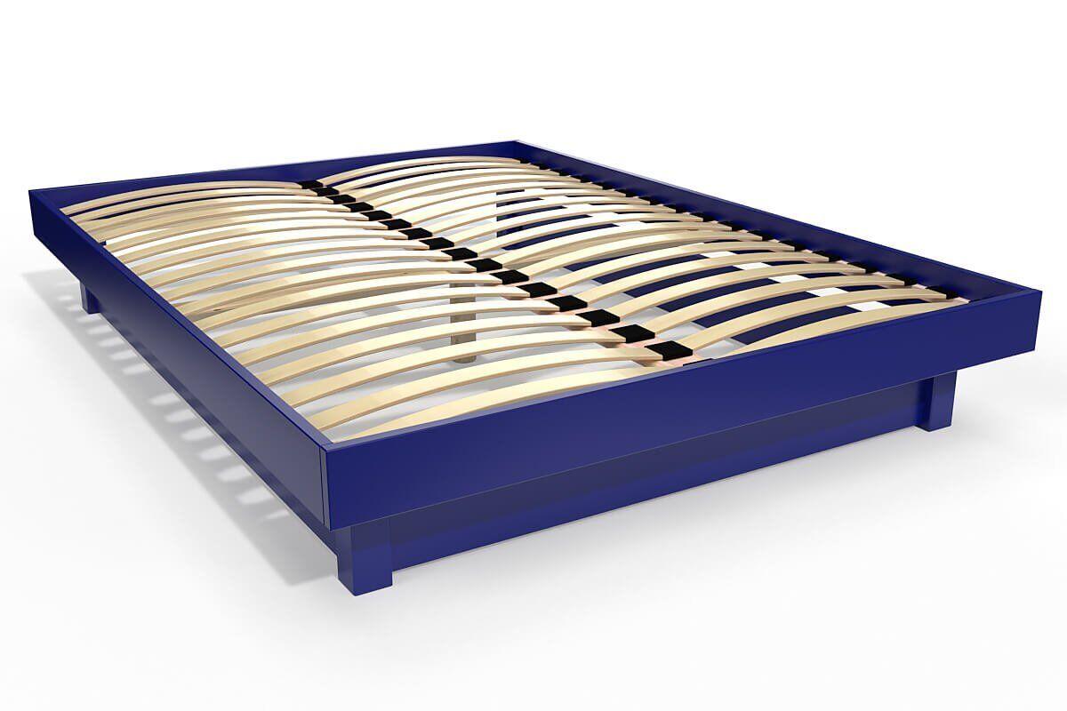 Abc meubles - lit plateforme bois massif pas cher bleu foncé 140x200