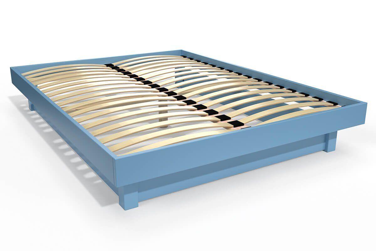 Abc meubles - lit plateforme bois massif pas cher bleu pastel 140x200
