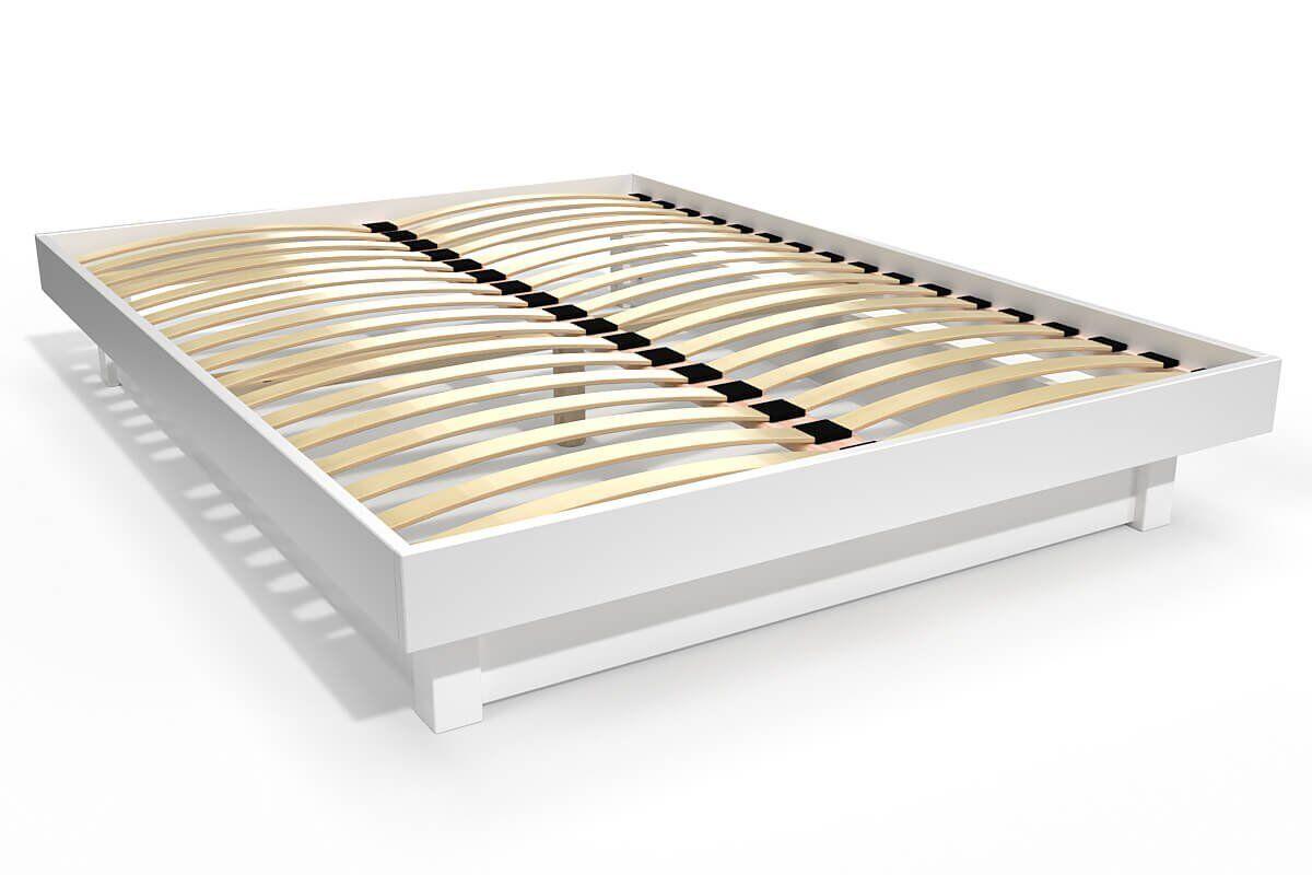Abc meubles - lit plateforme bois massif pas cher blanc 140x200