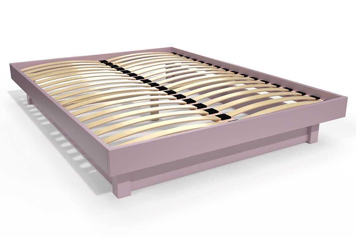 ABC MEUBLES Lit plateforme bois massif pas cher - 140x190 - Violet Pastel