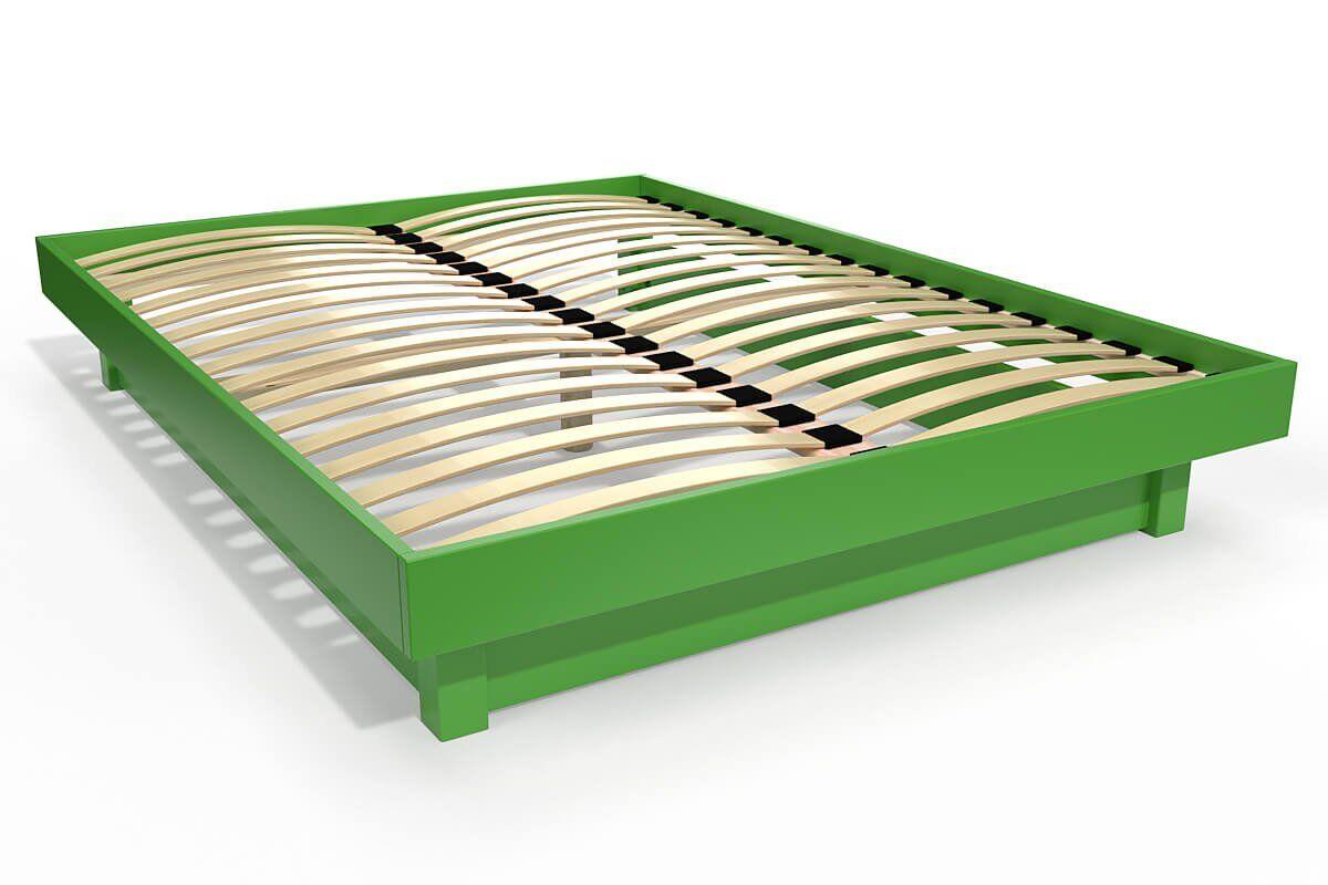 ABC MEUBLES Lit plateforme bois massif pas cher - 160x200 - Vert