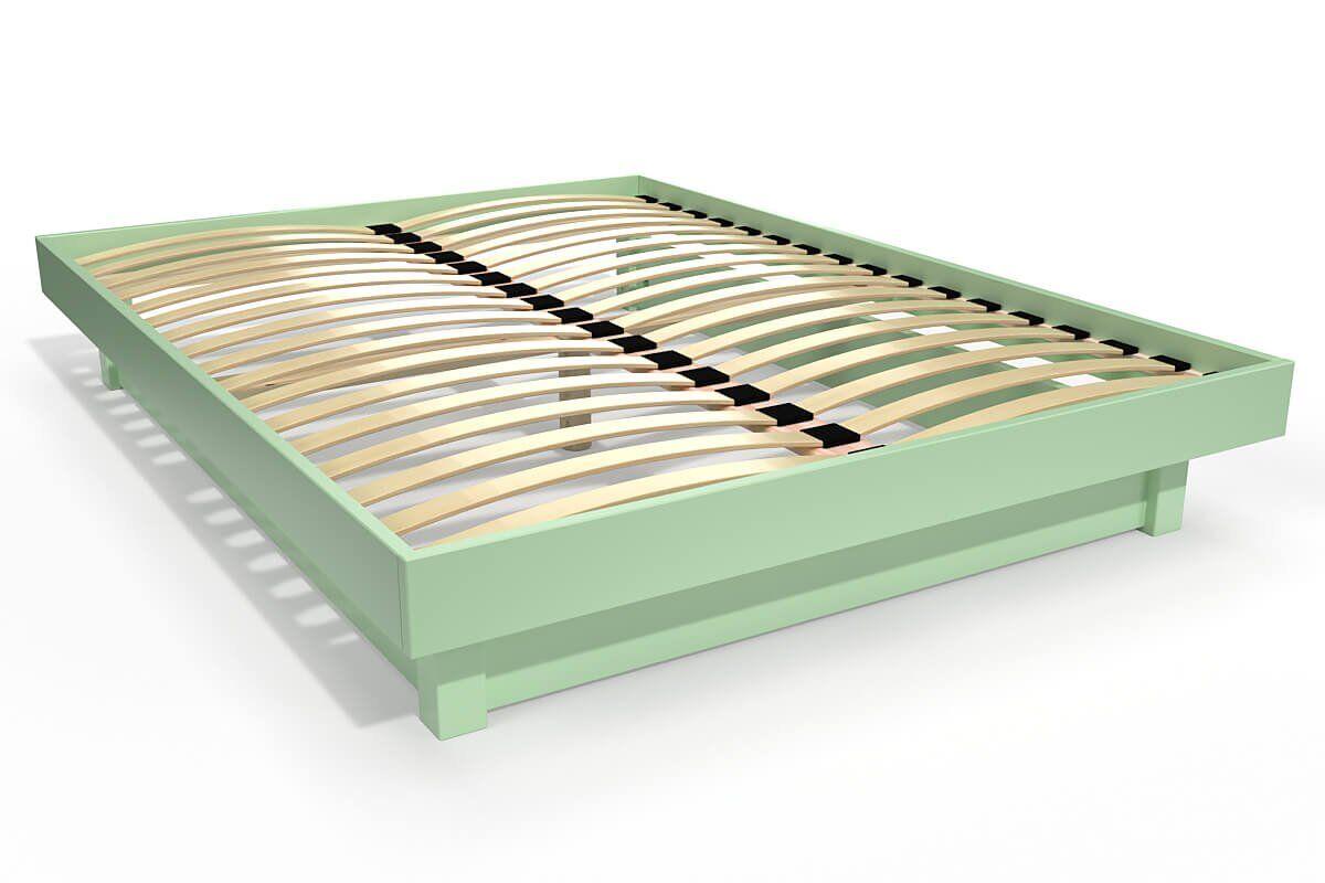 ABC MEUBLES Lit plateforme bois massif pas cher - 140x190 - Vert Pastel