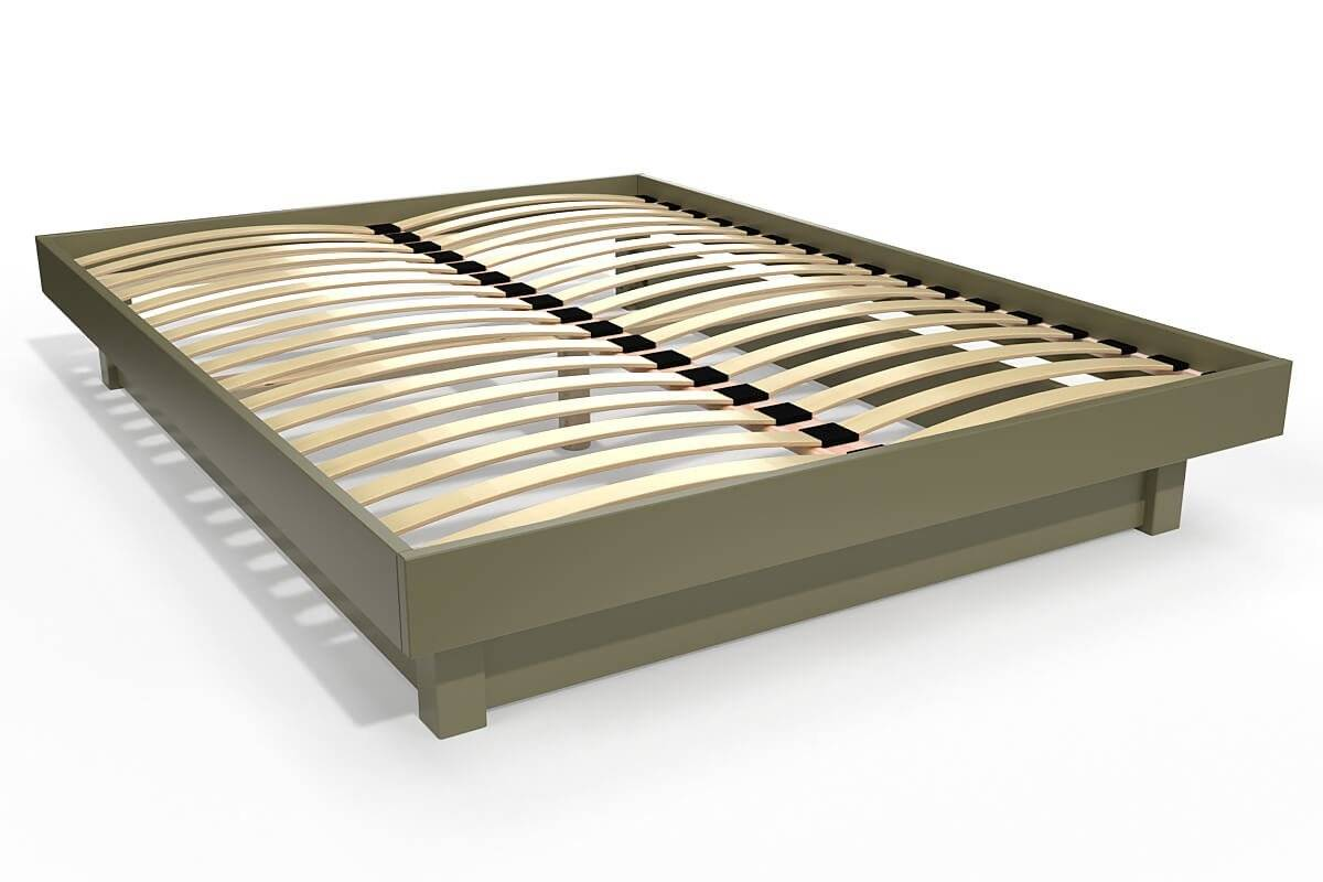 Abc meubles - lit plateforme bois massif pas cher taupe 140x200