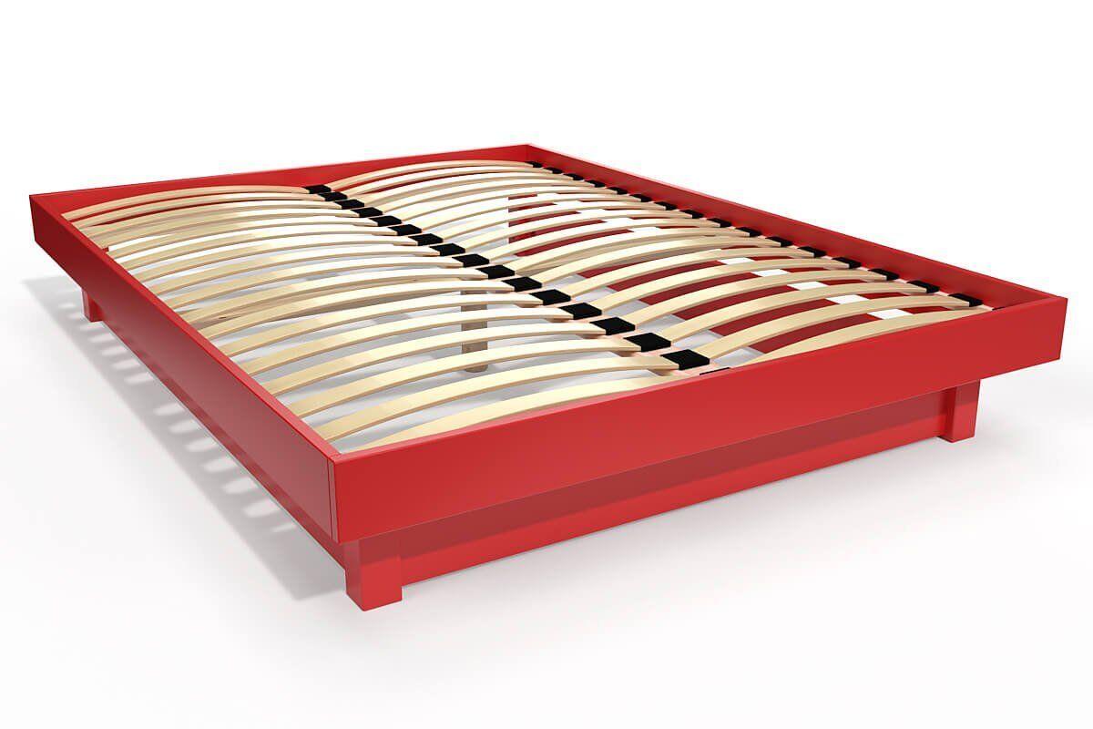 Abc meubles - lit plateforme bois massif pas cher rouge 140x190