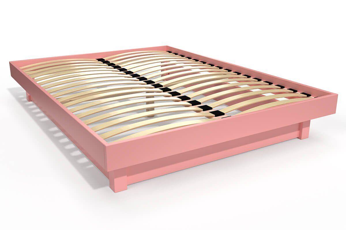 Abc meubles - lit plateforme bois massif pas cher rose pastel 140x200