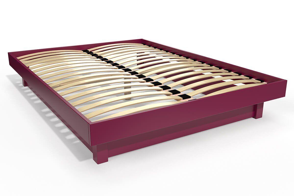 Abc meubles - lit plateforme bois massif pas cher prune 140x200