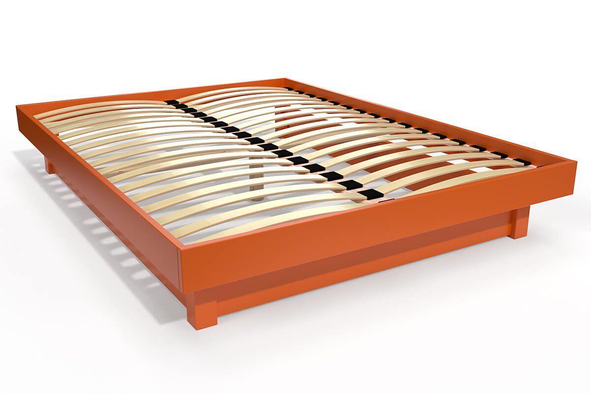 ABC MEUBLES Lit plateforme bois massif pas cher - 140x190 - Orange