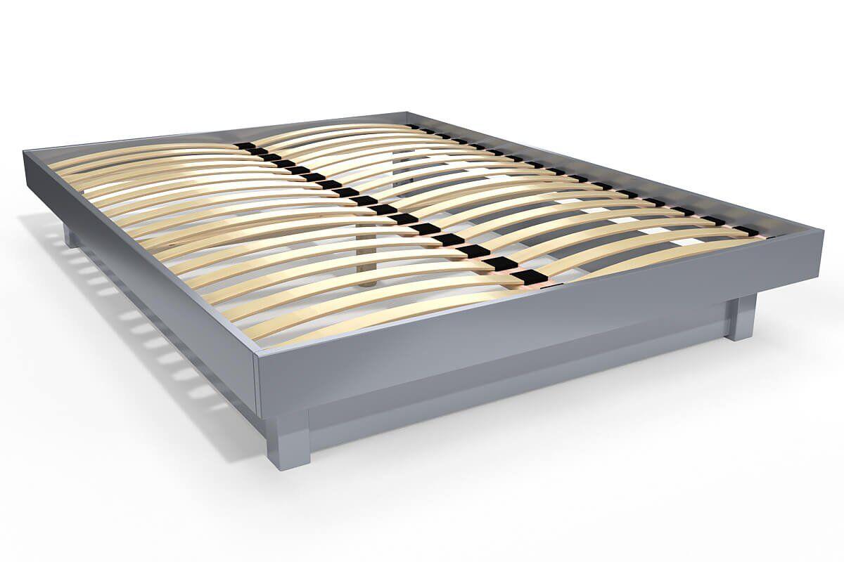 ABC MEUBLES Lit plateforme bois massif pas cher - 140x200 - Gris Aluminium