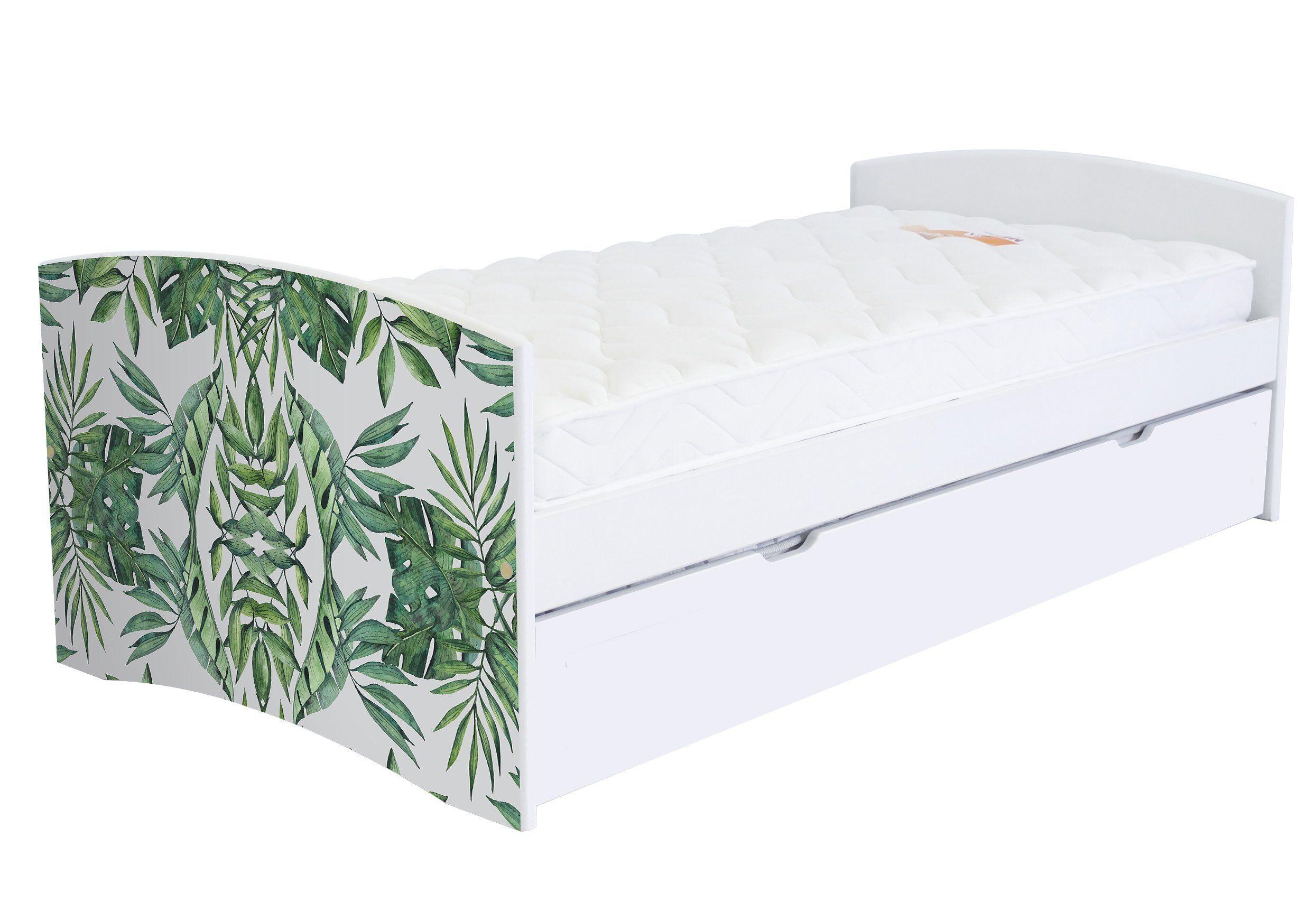ABC MEUBLES Banquette lit gigogne Happy 90x190 cm bois et décor - 90x190 - Vernis naturel/Décor Plantes
