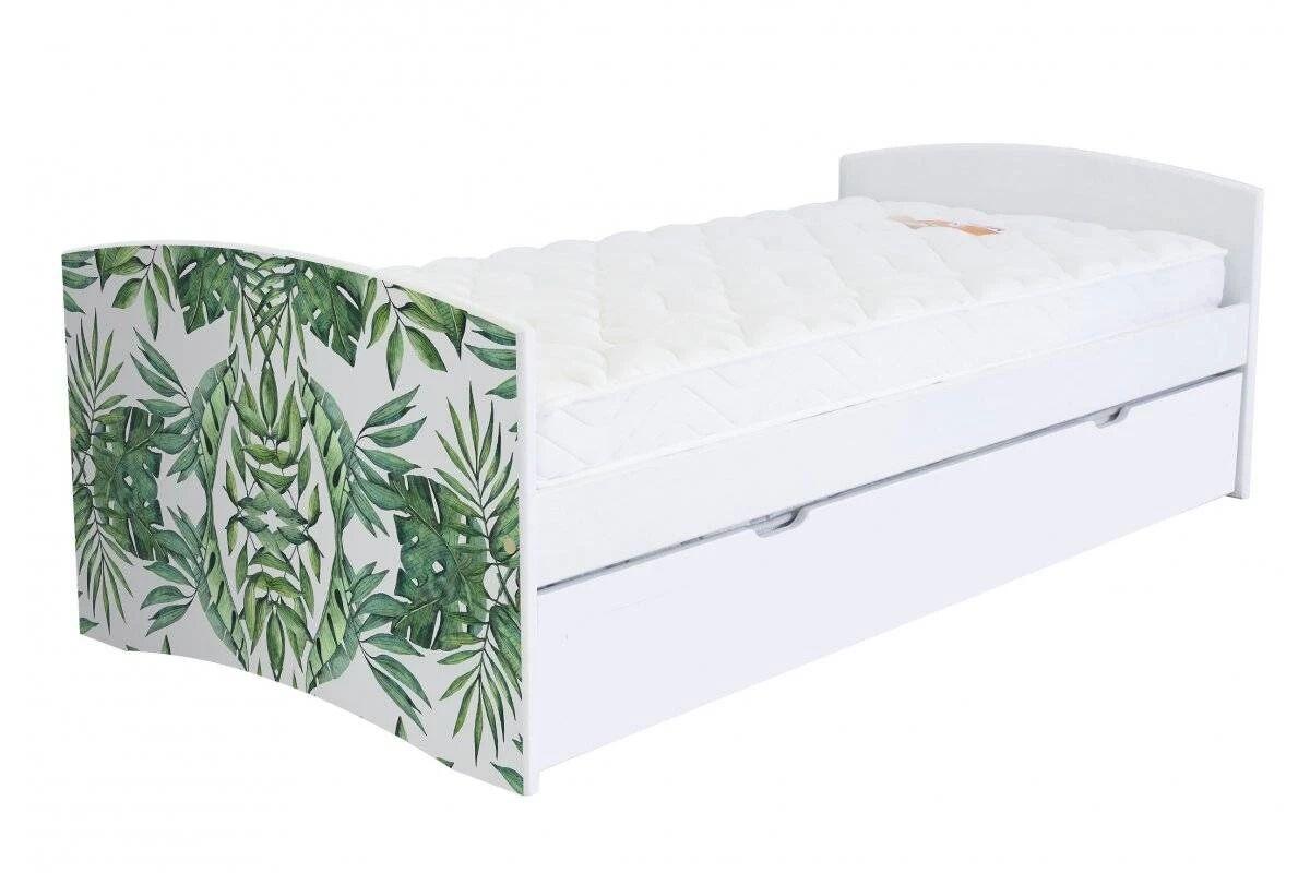 Abc meubles - lit banquette gigogne happy 90 x 190cm vernis naturel/décor plantes 90x190