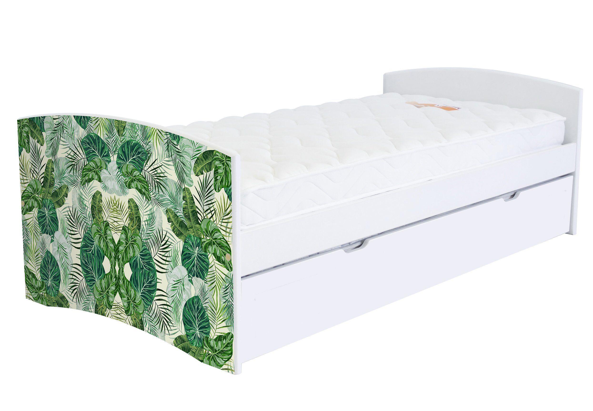 ABC MEUBLES Banquette lit gigogne Happy 90x190 cm bois et décor - 90x190 - Vernis naturel/Décor Tropical