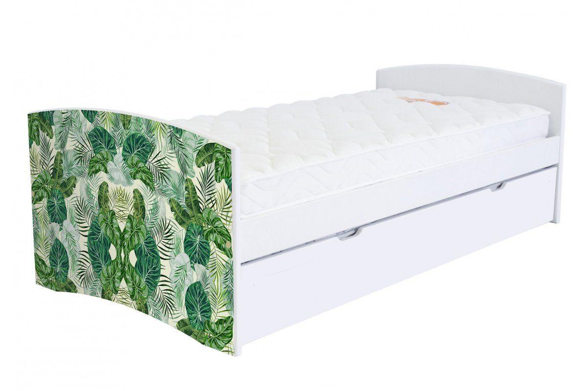 Abc meubles - lit banquette gigogne happy 90 x 190cm vernis naturel/décor tropical 90x190