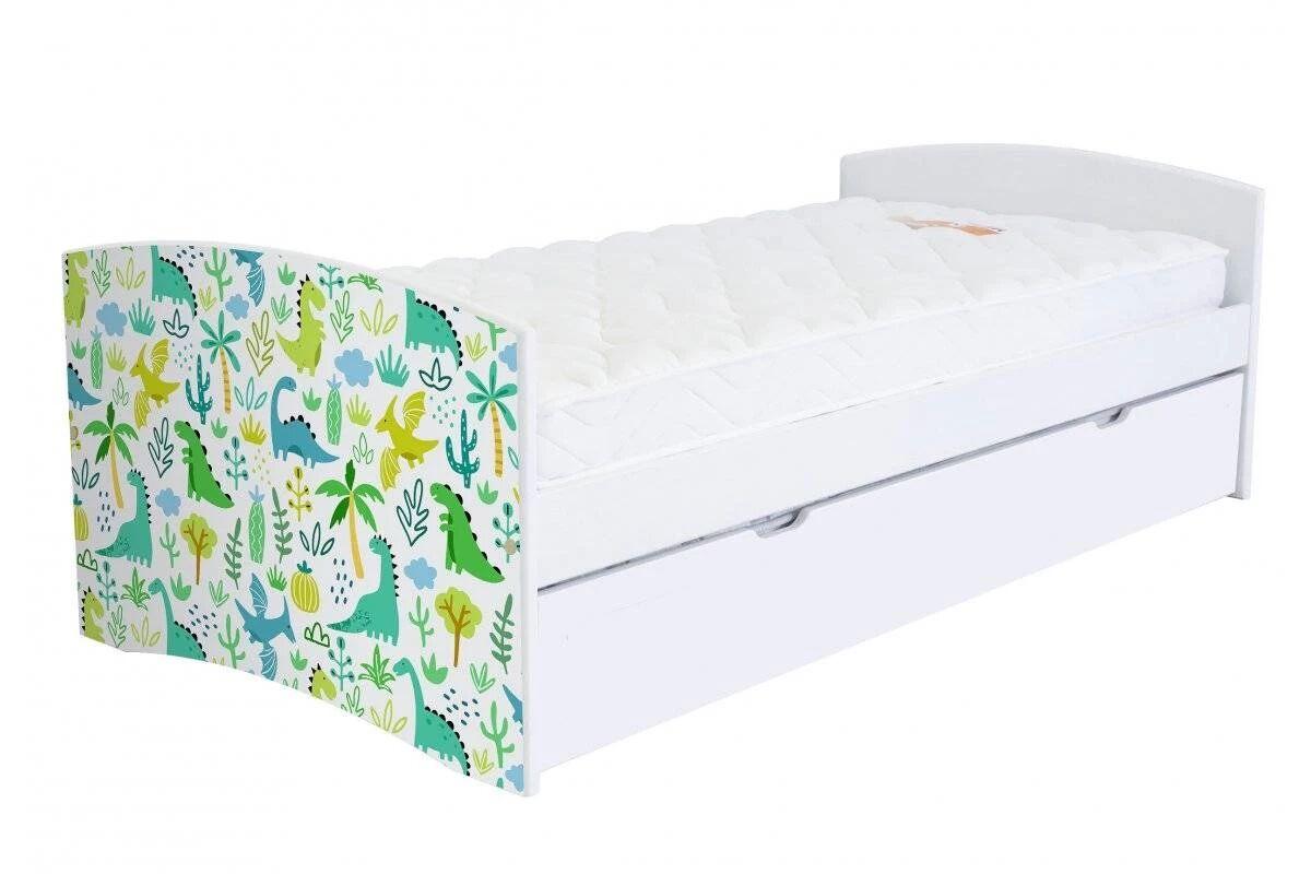 Abc meubles - lit banquette gigogne happy 90 x 190cm vernis naturel/décor dinosaure 90x190