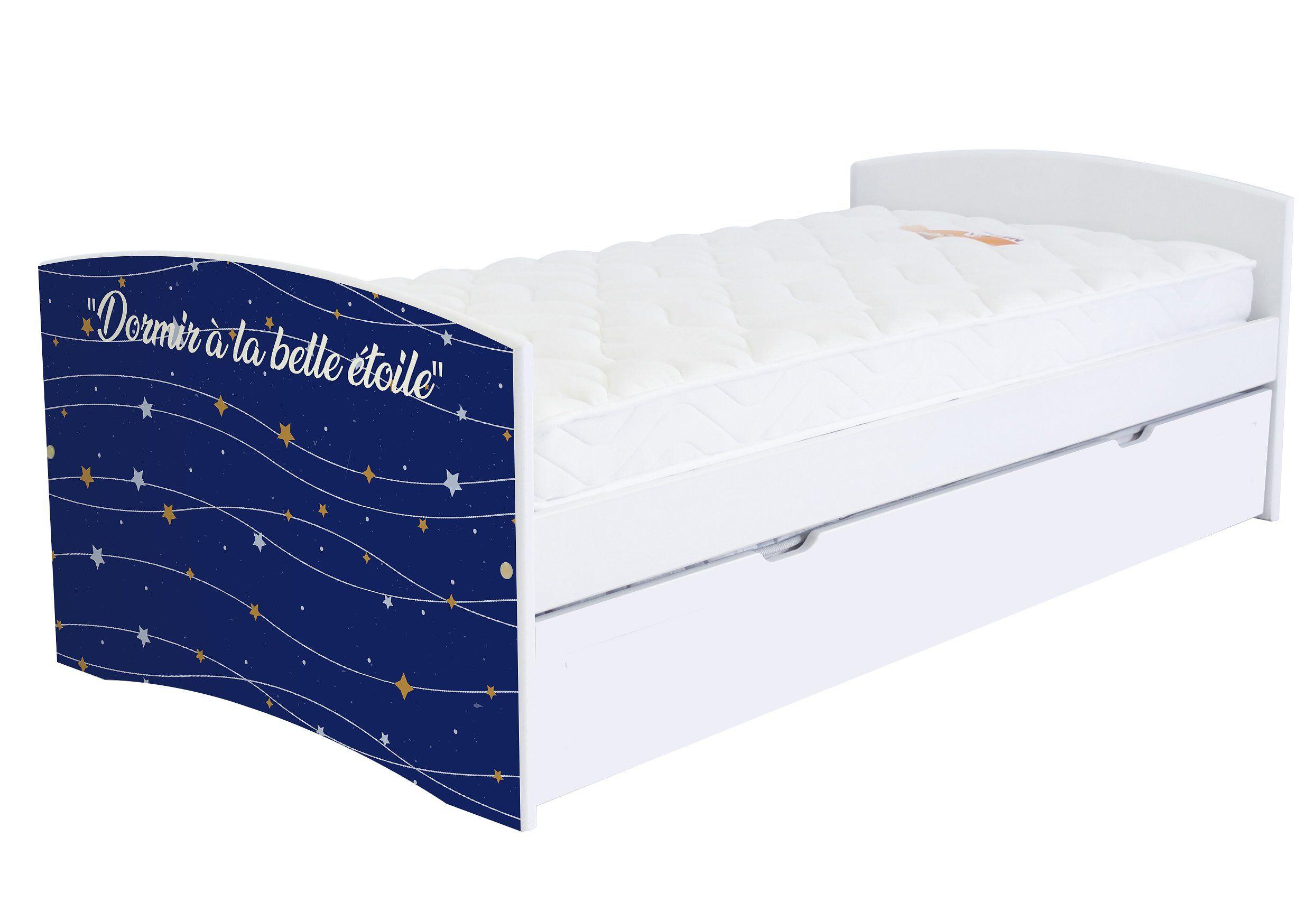 ABC MEUBLES Banquette lit gigogne Happy 90x190 cm bois et décor - 90x190 - Vernis naturel/Décor étoiles