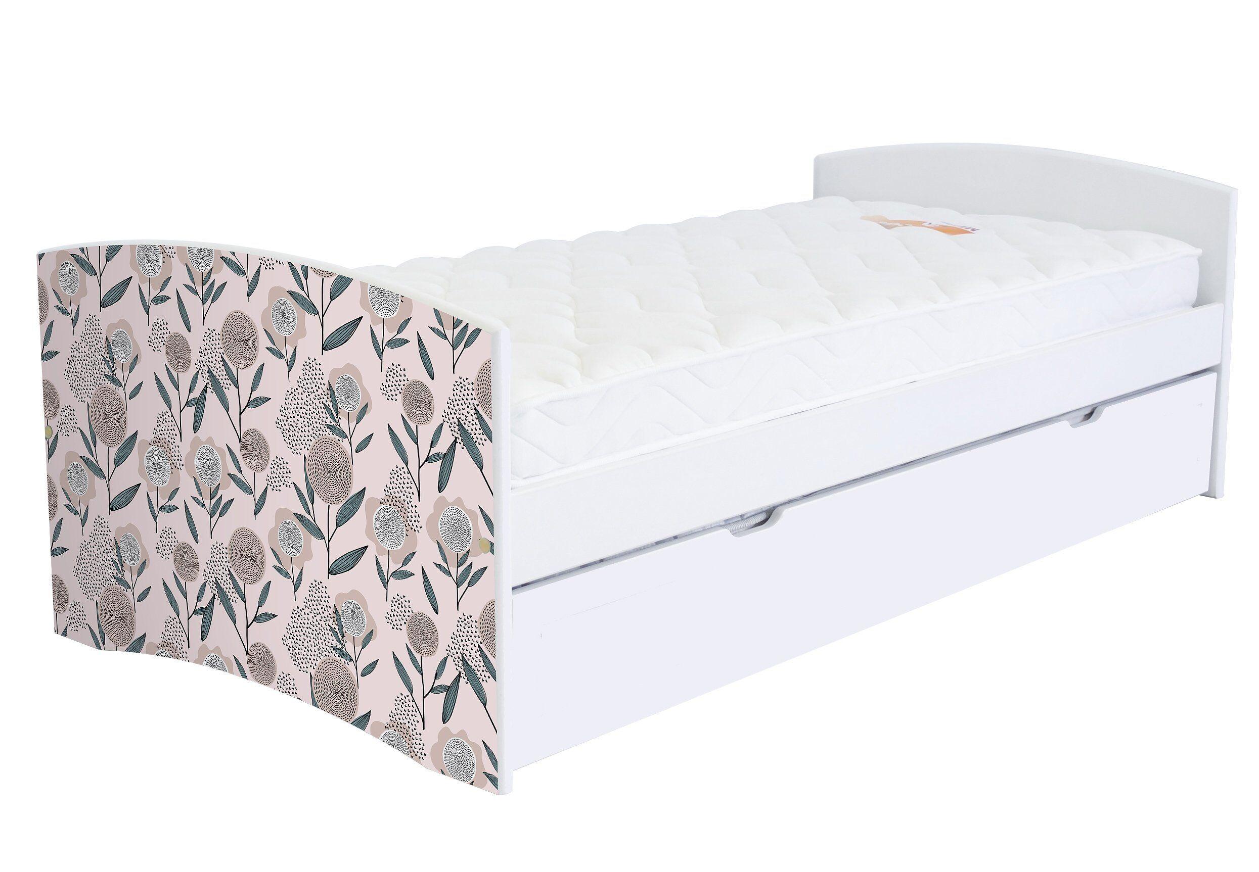 ABC MEUBLES Banquette lit gigogne Happy 90x190 cm bois et décor - 90x190 - Vernis naturel/Décor Fleurs roses