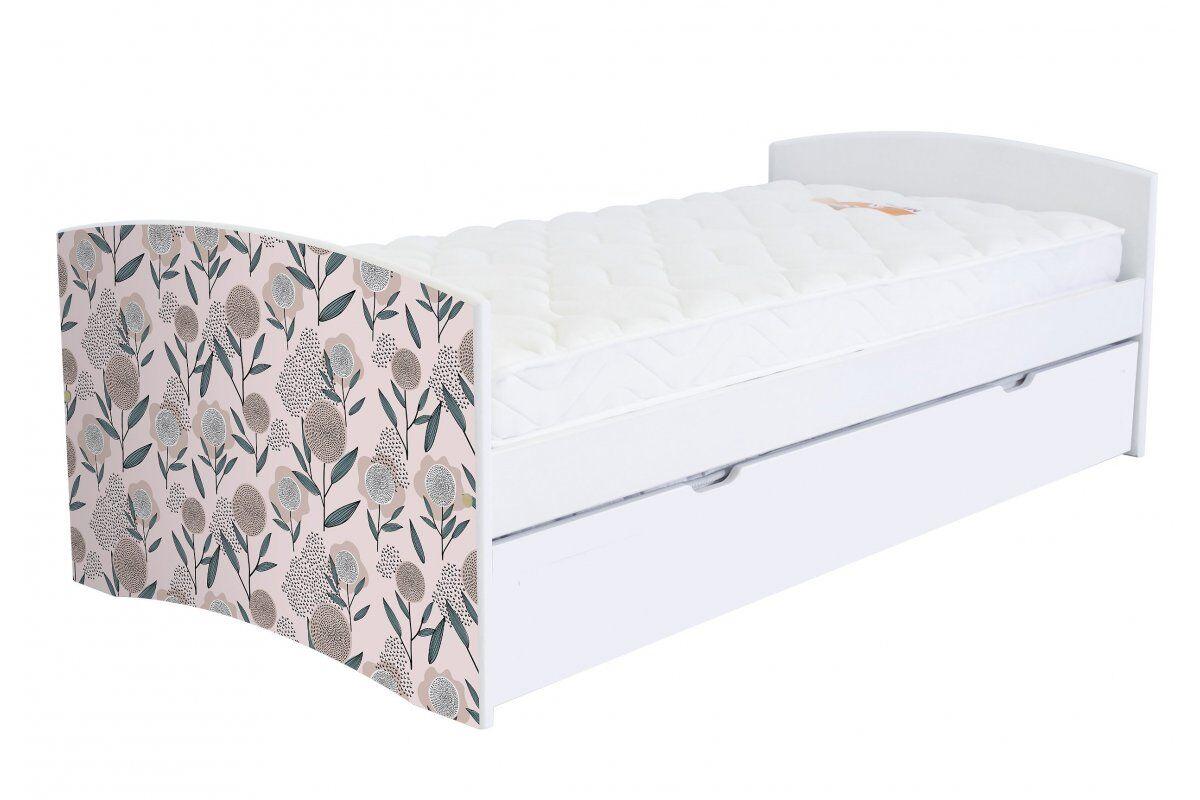 Abc meubles - lit banquette gigogne happy 90 x 190cm vernis naturel/décor fleurs roses 90x190