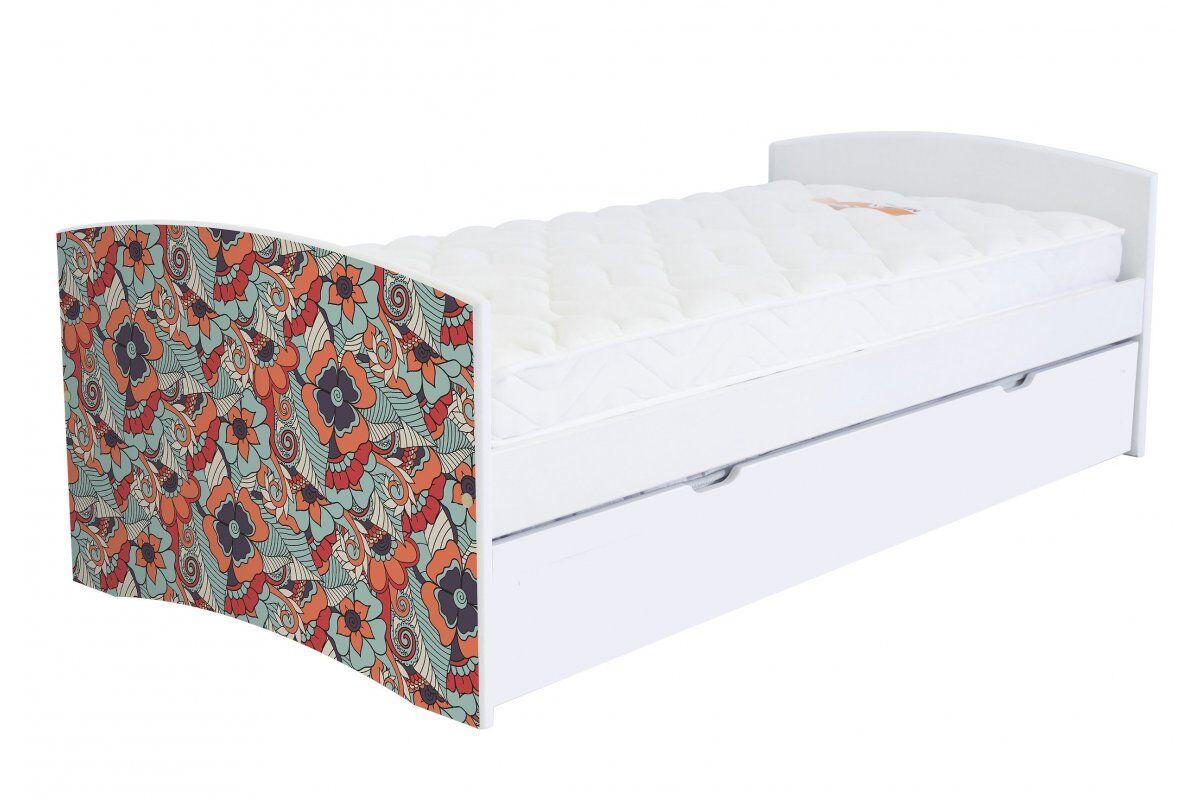 Abc meubles - lit banquette gigogne happy 90 x 190cm vernis naturel/décor fleurs rouges 90x190