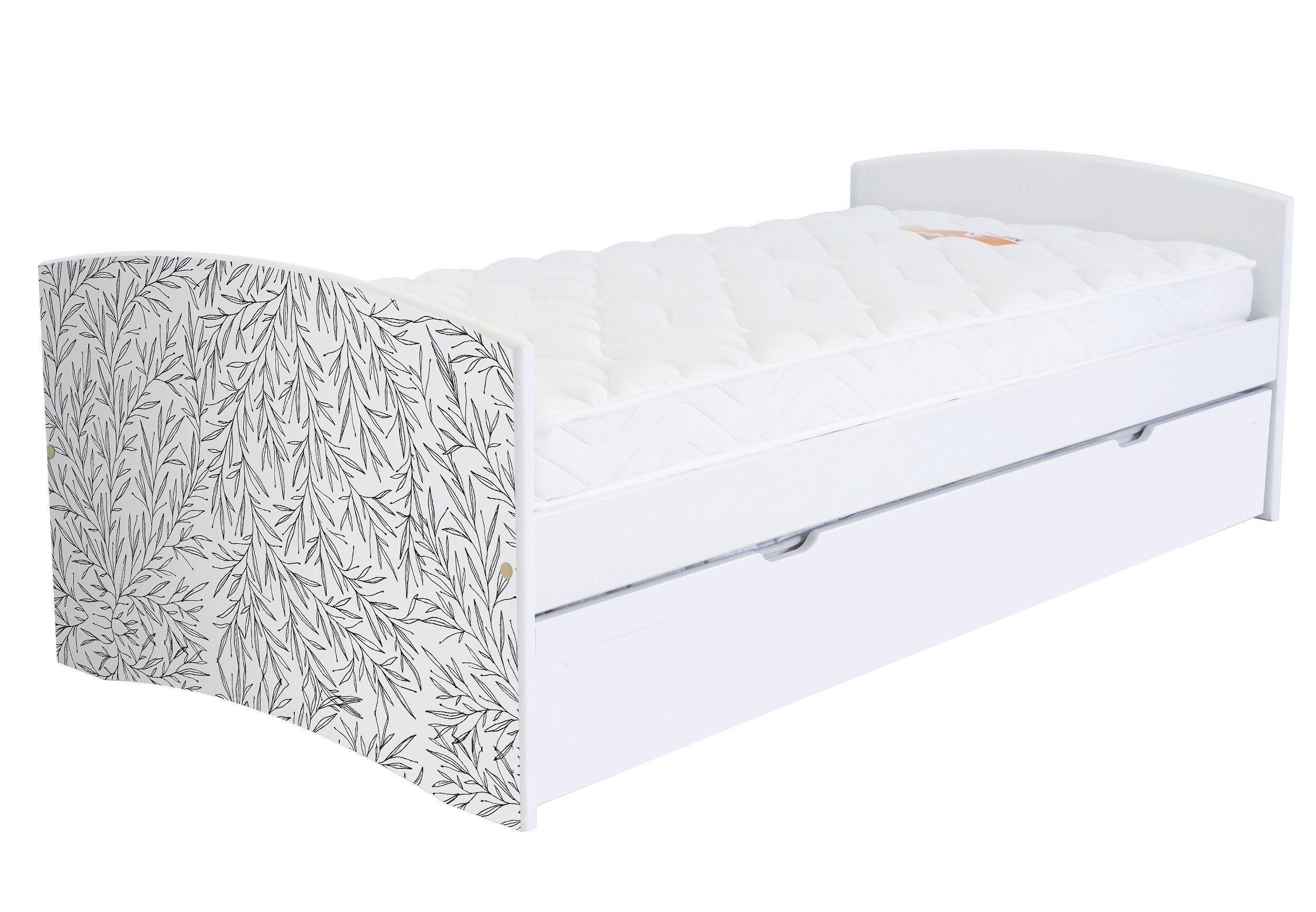 ABC MEUBLES Banquette lit gigogne Happy 90x190 cm bois et décor - 90x190 - Vernis naturel/Décor Tiges