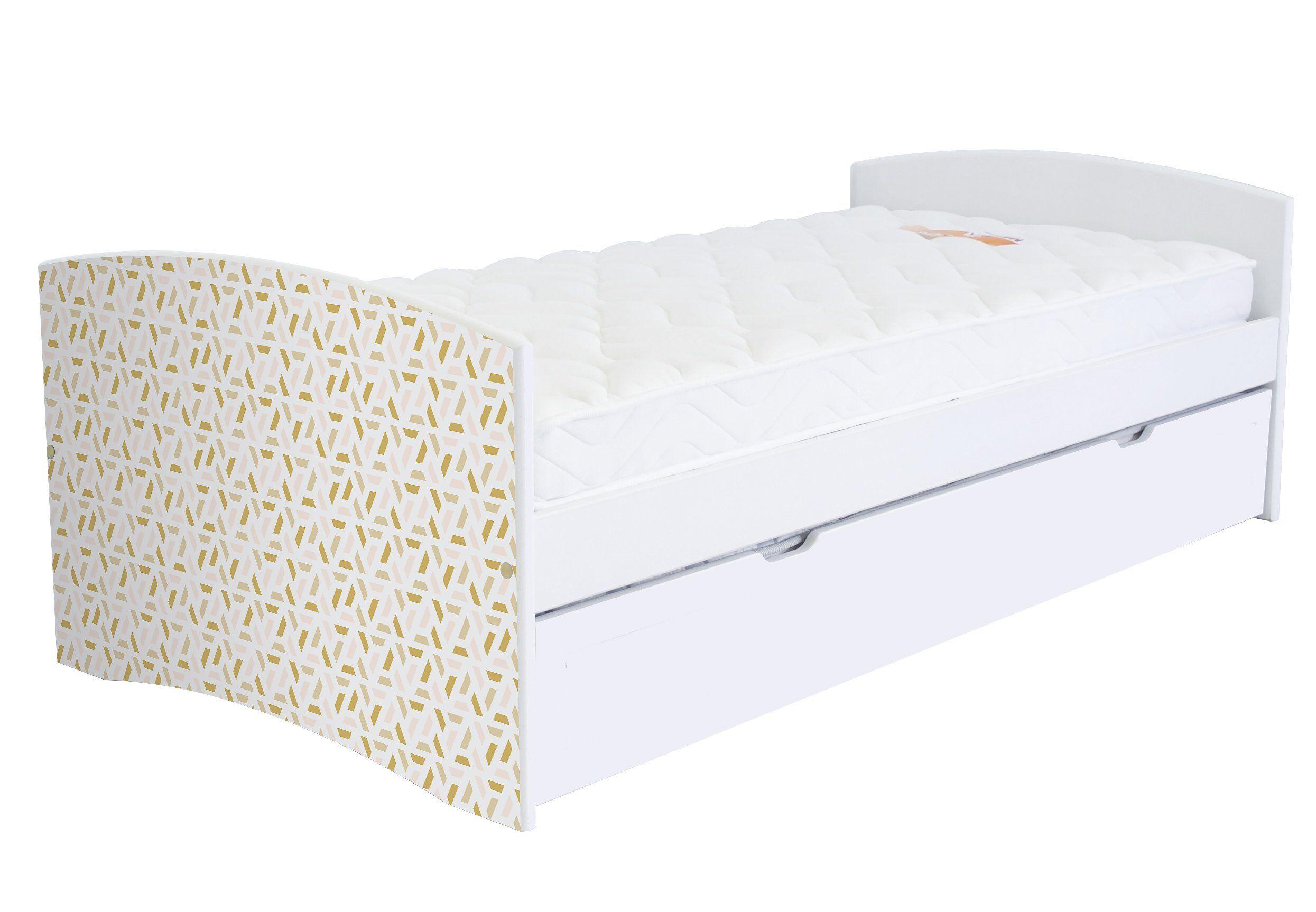 ABC MEUBLES Banquette lit gigogne Happy 90x190 cm bois et décor - 90x190 - Vernis naturel/Décor géométrique