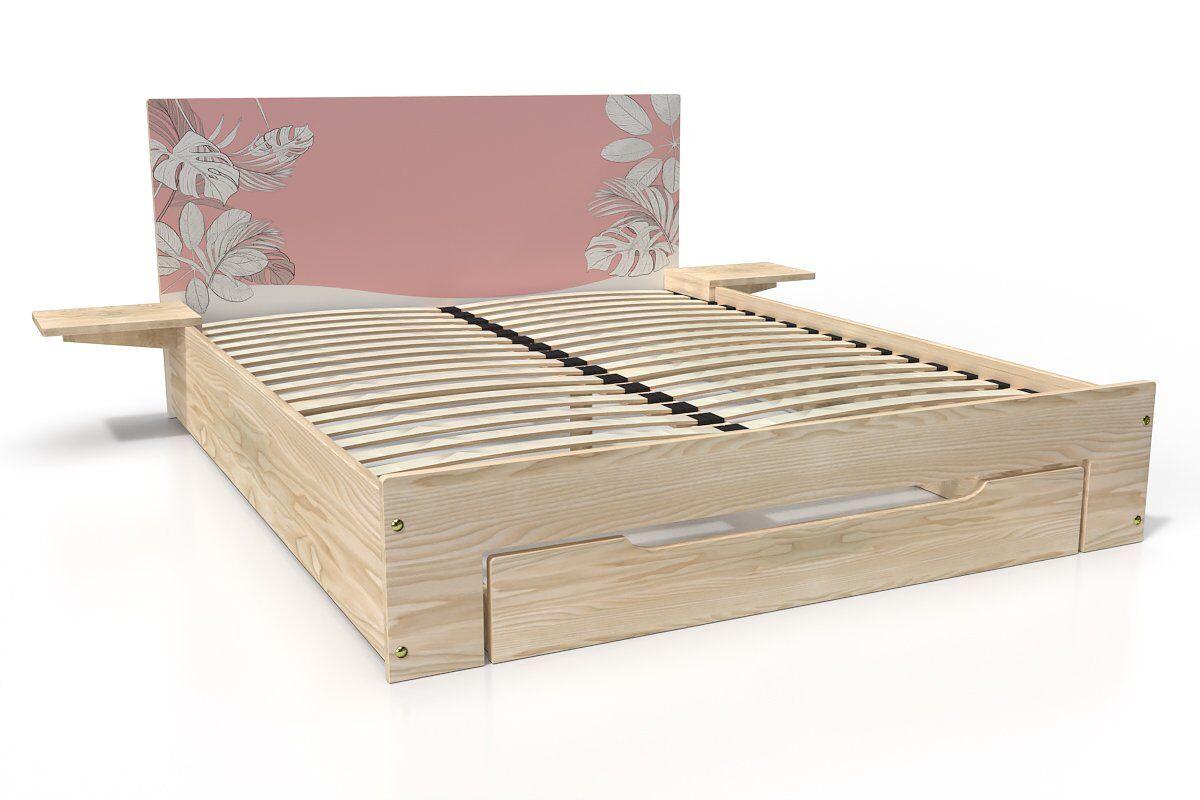 ABC MEUBLES Lit Happy + tiroirs + chevets amovibles - 2 places - 160x200 - Vernis naturel/Décor Rose