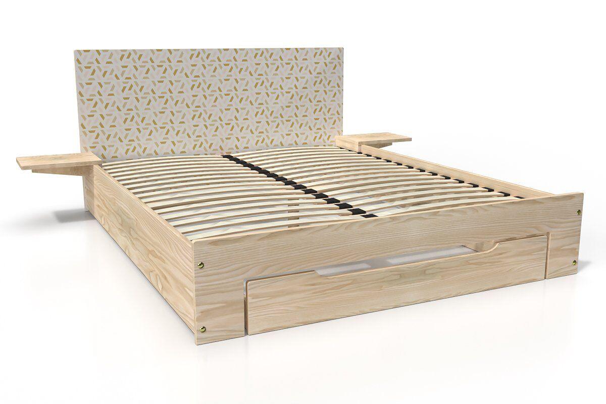 ABC MEUBLES Lit Happy + tiroirs + chevets amovibles - 2 places - 140x190 - Vernis naturel/Décor géométrique