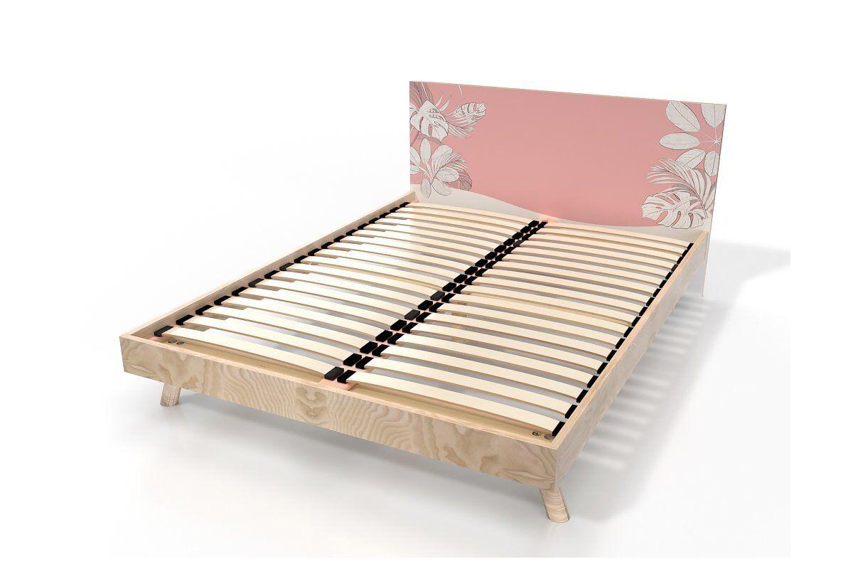 Abc meubles - lit viking style scandinave bois 2 places 140x200 vernis naturel/décor rose