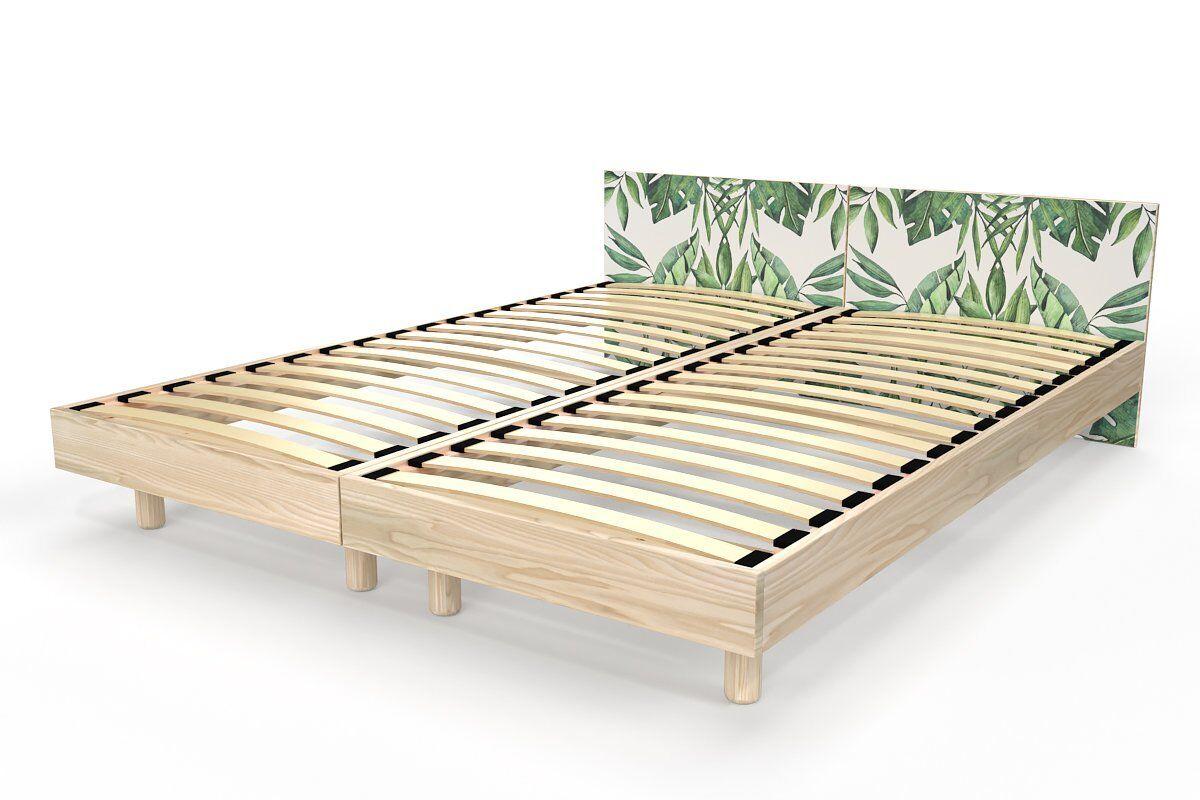 Abc meubles - lit twin bois massif vernis naturel/décor plantes 80x200