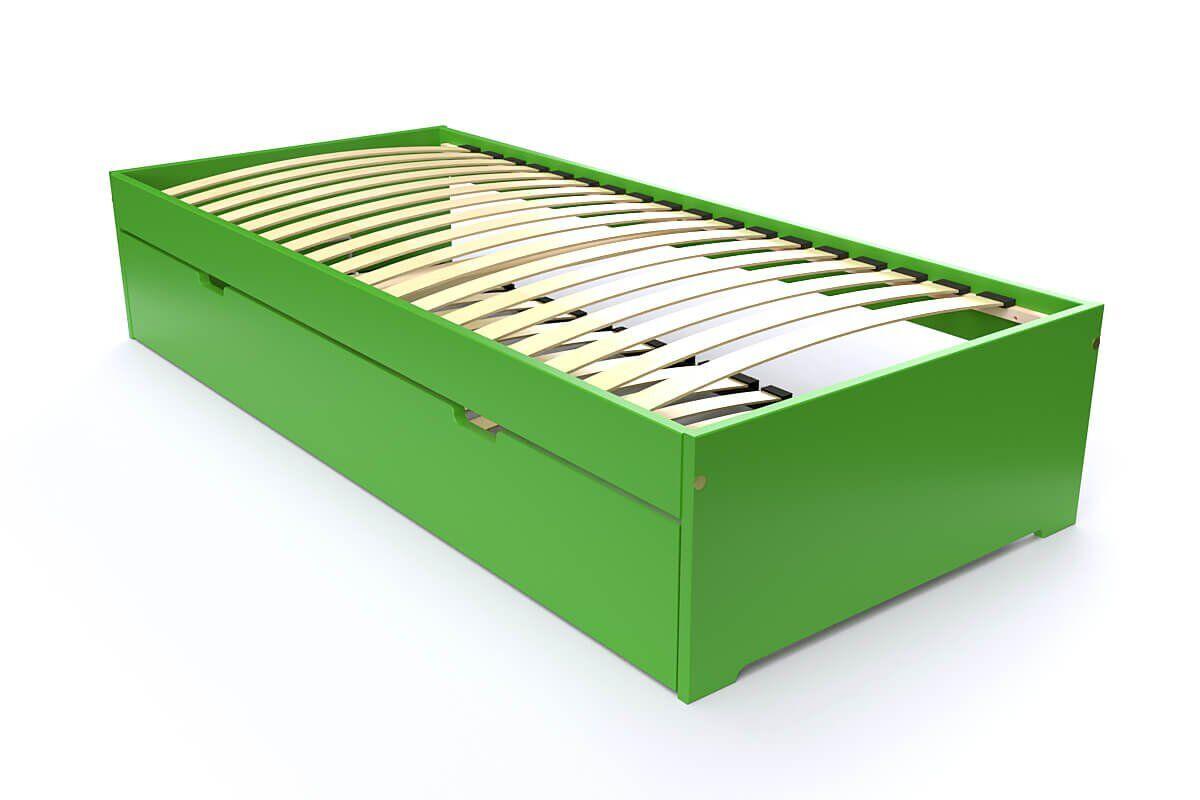 ABC MEUBLES Lit gigogne Malo avec tiroir lit bois - 80x190 - Vert