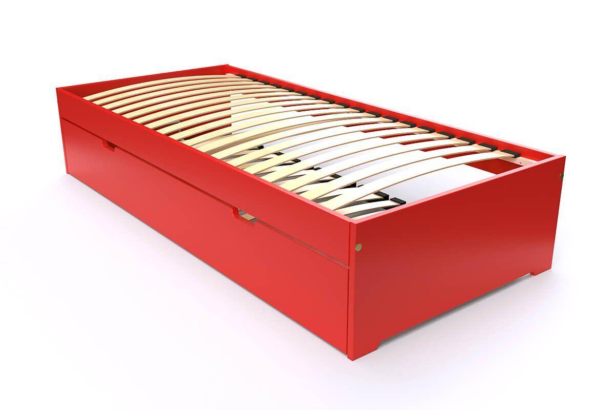 Abc meubles - lit gigogne malo avec tiroir lit bois rouge 80x190