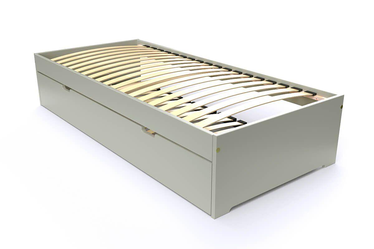 ABC MEUBLES Lit gigogne Malo avec tiroir lit bois - 80x190 - Moka