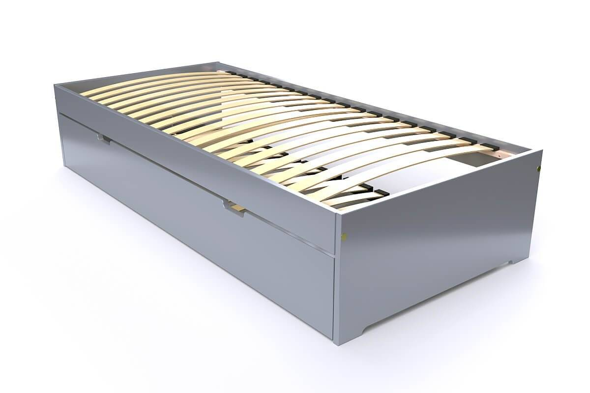 ABC MEUBLES Lit gigogne Malo avec tiroir lit bois - 90x190 - Gris Aluminium