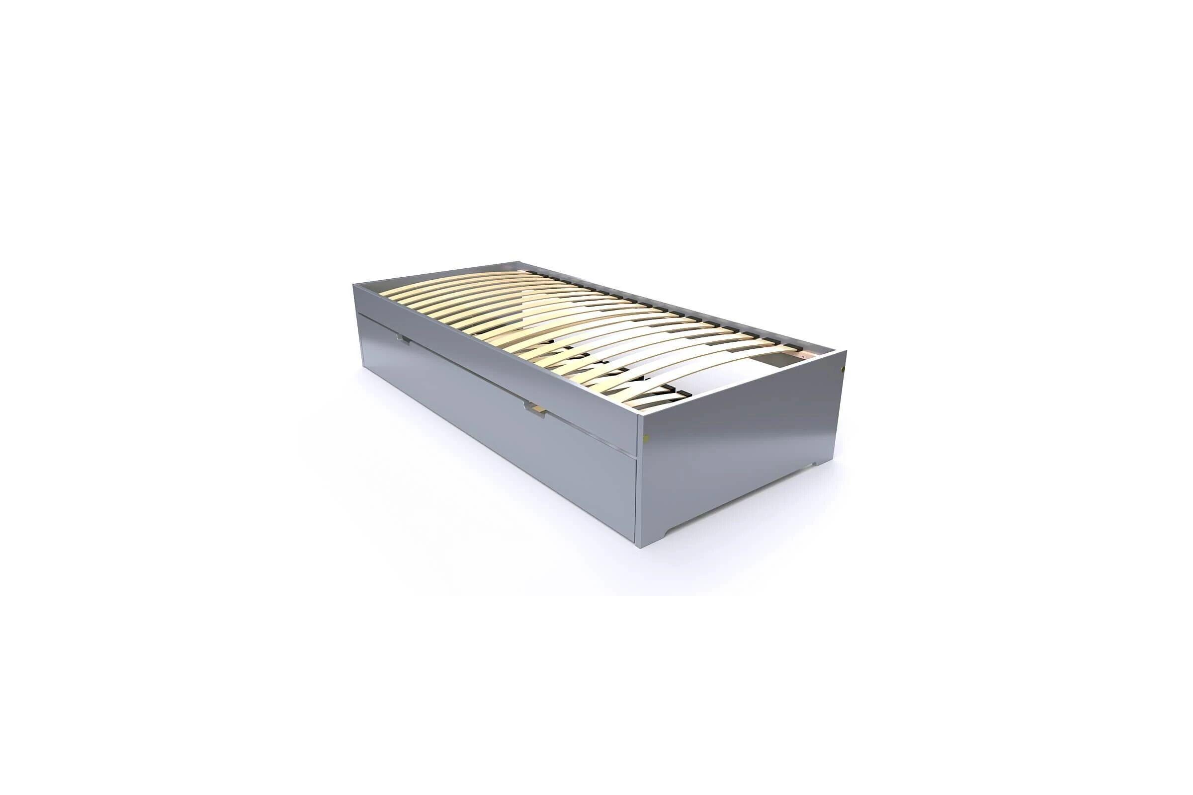 Abc meubles - lit gigogne malo avec tiroir lit bois gris aluminium 90x190