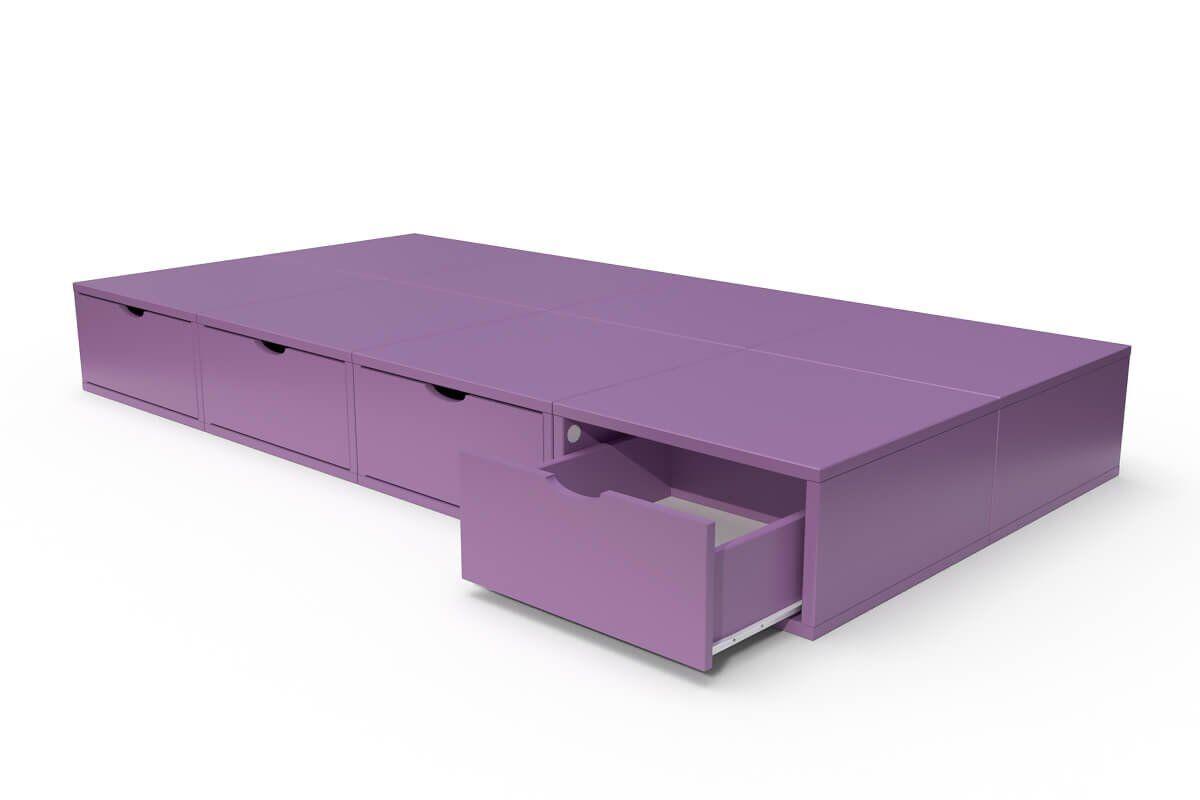 ABC MEUBLES Lit 90x200 1 place avec tiroirs Cube bois - 90x200 - Lilas