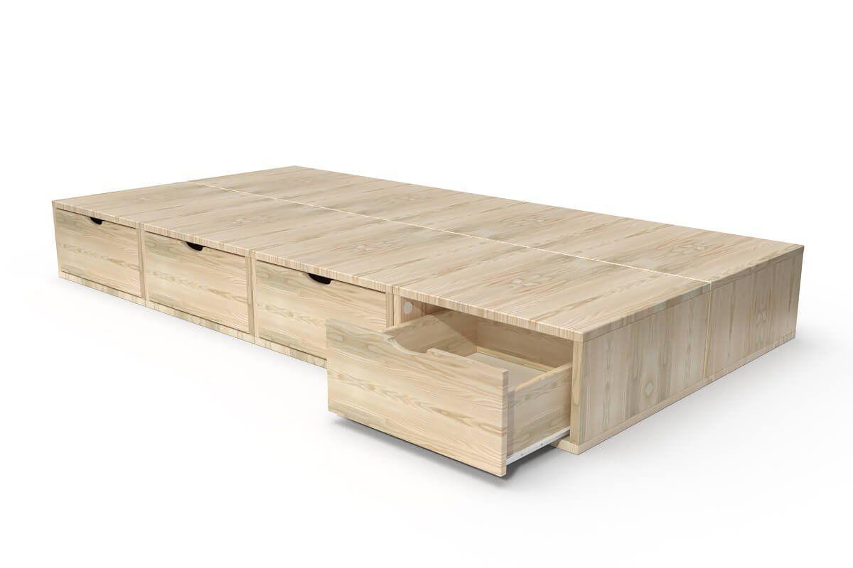 ABC MEUBLES Lit 90x200 1 place avec tiroirs Cube bois - 90x200 - Vernis Naturel