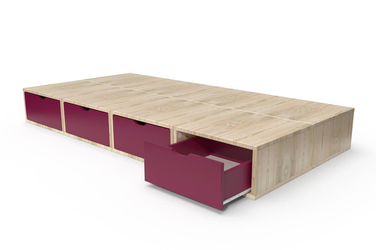 ABC MEUBLES Lit 90x200 1 place avec tiroirs Cube bois - 90x200 - Vernis Naturel/Prune