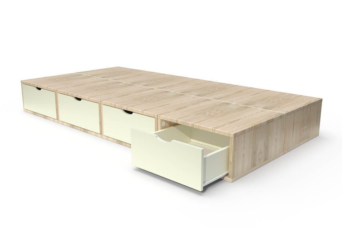 ABC MEUBLES Lit 90x200 1 place avec tiroirs Cube bois - 90x200 - Vernis naturel / Ivoire