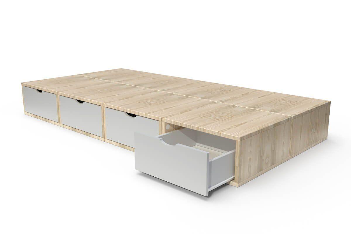 ABC MEUBLES Lit 90x200 1 place avec tiroirs Cube bois - 90x200 - Vernis naturel/Gris souris