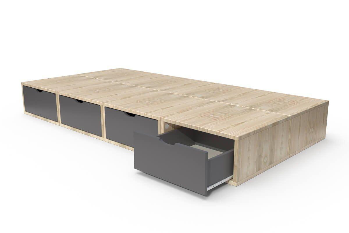 ABC MEUBLES Lit 90x200 1 place avec tiroirs Cube bois - 90x200 - Vernis naturel/Gris anthracite