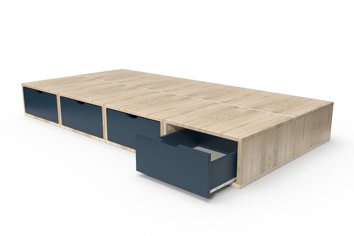 ABC MEUBLES Lit 90x200 Cube + tiroirs - 90x200 - Vernis naturel/Bleu pétrole