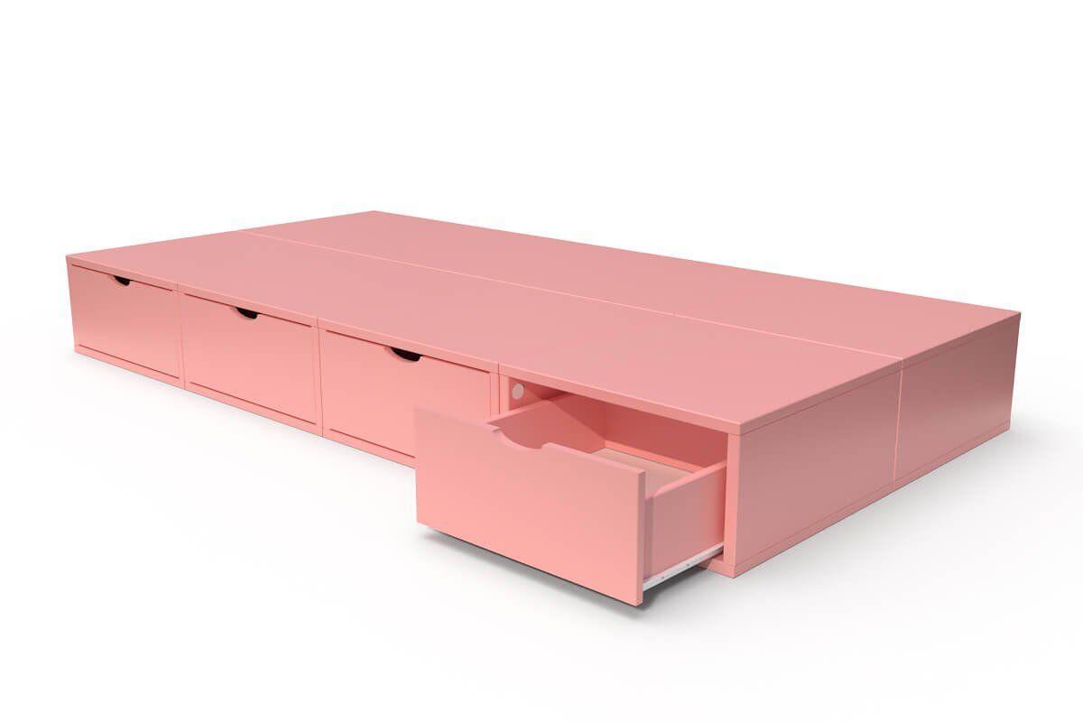 ABC MEUBLES Lit 90x200 1 place avec tiroirs Cube bois - 90x200 - Rose Pastel