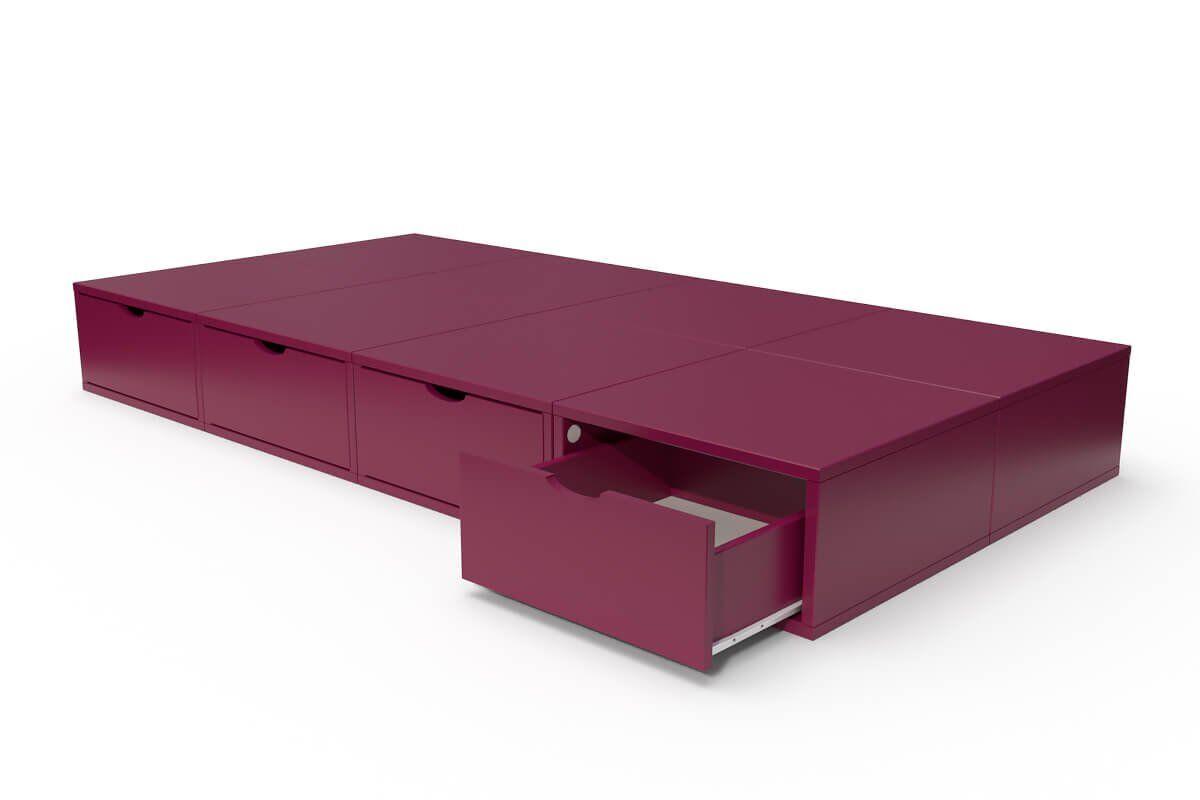 ABC MEUBLES Lit 90x200 1 place avec tiroirs Cube bois - 90x200 - Prune