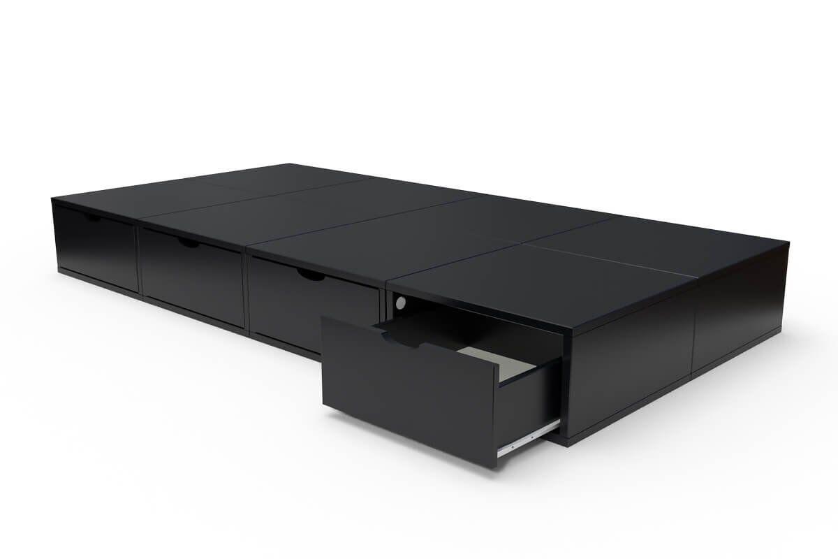 ABC MEUBLES Lit 90x200 1 place avec tiroirs Cube bois - 90x200 - Noir