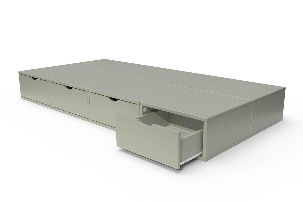 ABC MEUBLES Lit 90x200 1 place avec tiroirs Cube bois - 90x200 - Moka
