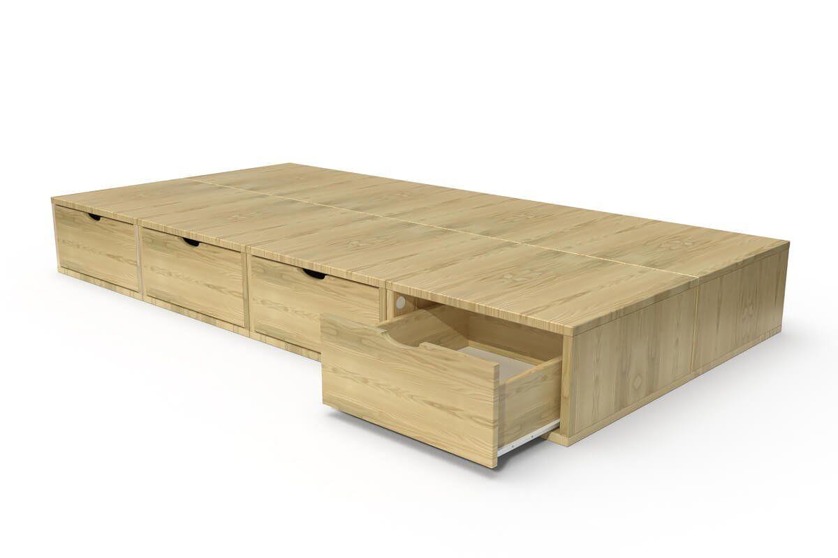 ABC MEUBLES Lit 90x200 1 place avec tiroirs Cube bois - 90x200 - Miel