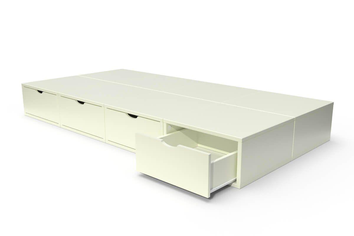 ABC MEUBLES Lit 90x200 1 place avec tiroirs Cube bois - 90x200 - Ivoire