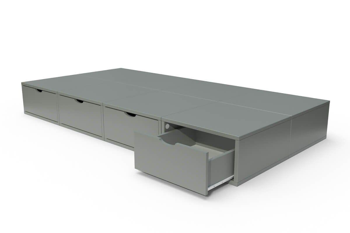 ABC MEUBLES Lit 90x200 1 place avec tiroirs Cube bois - 90x200 - Gris